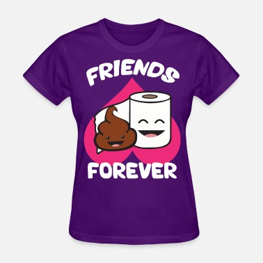 Cartoon Poop Friends Forever - Poop and Toilet Paper Roll - Women's T-Shirt