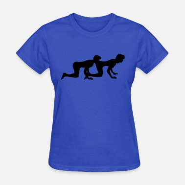 Naked Couples lick ass eat ass 2 couple couple love doggy style - Women's T-Shirt