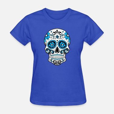 Red White And Blue Skulls Decorative white skull, light blue - Women's T-Shirt