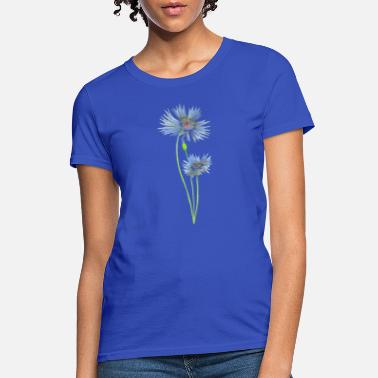 Two Blue Cornflowers in Watercolor - Women's T-Shirt