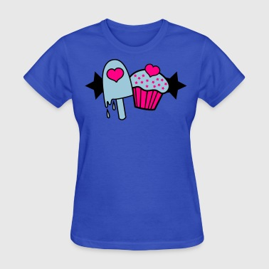 icecream and cup cake love hearts - Women's T-Shirt