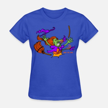 Witches Broom Witch Crashing And Breaking Her Broom - Women's T-Shirt
