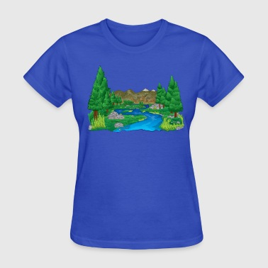 Scenic Forest River Landscape - Women's T-Shirt