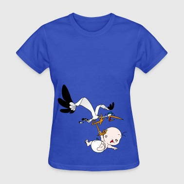 Baby boy with Stork - Women's T-Shirt