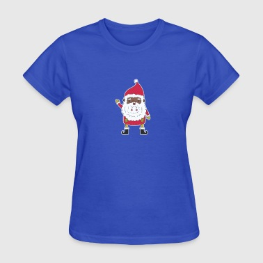 African American African-American Santa Claus Xmas Funny Christmas - Women's T-Shirt