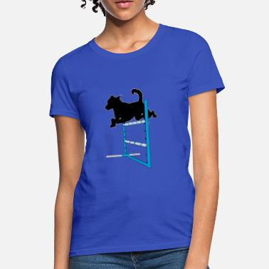 Dog Jump Silhouette Agility Jump with Dog - Women's T-Shirt