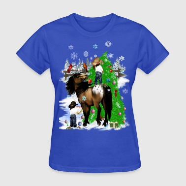A Horse and Kid Christmas - Women's T-Shirt