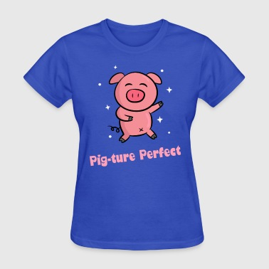 cute pink piggy dancing happily - Women's T-Shirt