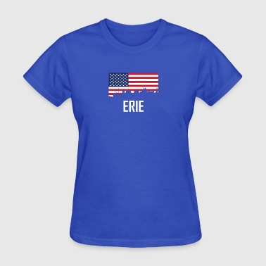 Erie Pennsylvania Skyline American Flag - Women's T-Shirt