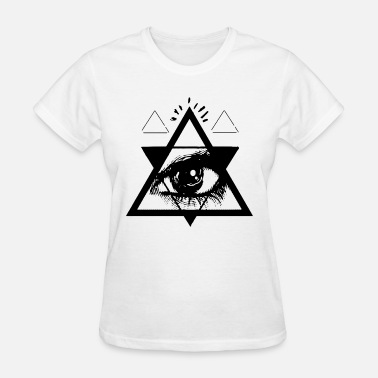 T Eye Triangle Psychedelic All Seeing Eye Occult Triangle Graphic - Women's T-Shirt