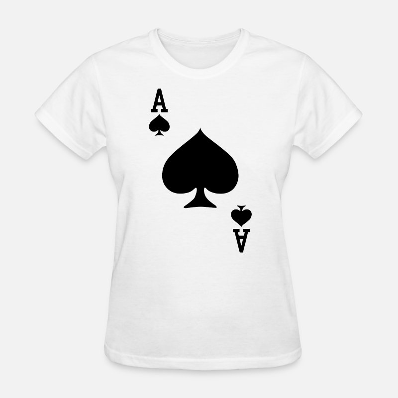 Ace T-Shirts - Ace of Spades Playing Card Halloween Costume baseb - Women's T-Shirt white