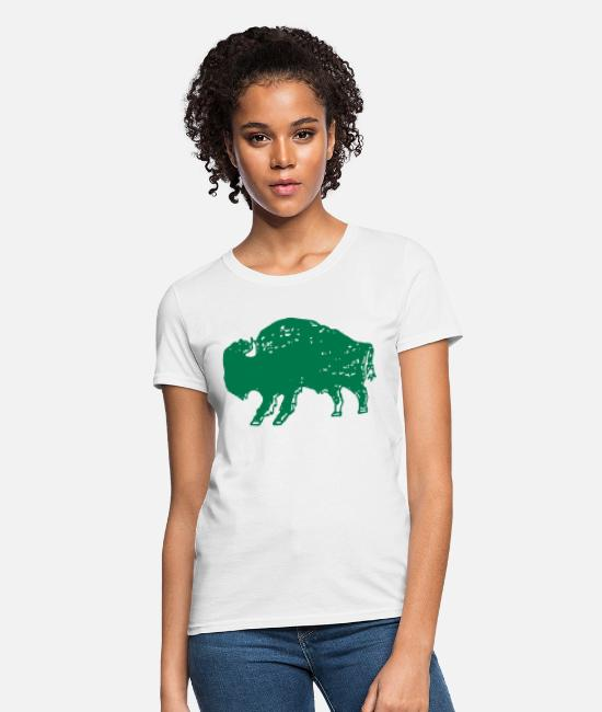 Viking T-Shirts - Men s Unisex Bison Print Green and Gold Jersey Sho - Women's T-Shirt white