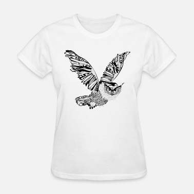 Black And White Owl Flying Owl - black and white - Women's T-Shirt