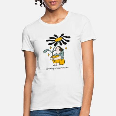 Growth Growing At My Own Pace Black Flower - Women's T-Shirt