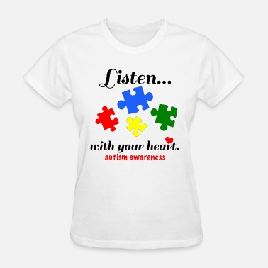 Autism Puzzle Piece Hand Inktastic Autism Awareness Youth Puzzle Pieces Tee - Women's T-Shirt