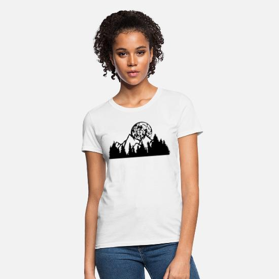 Moon T-Shirts - full moon night moon mountains hill forest mountai - Women's T-Shirt white
