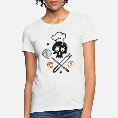 Grill Utensils Skull with Chef Hat and Grilling Utensils - Women's T-Shirt