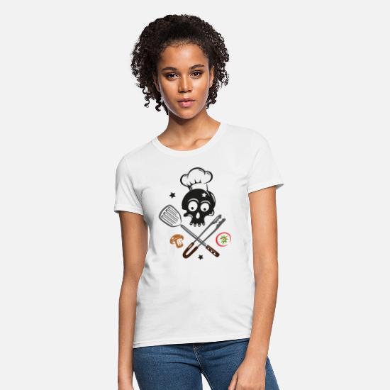 Gourmet T-Shirts - Skull with Chef Hat and Grilling Utensils - Women's T-Shirt white