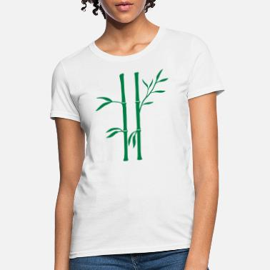 Bamboo 2 bamboo plants silhouette many stem tree leaves a - Women's T-Shirt