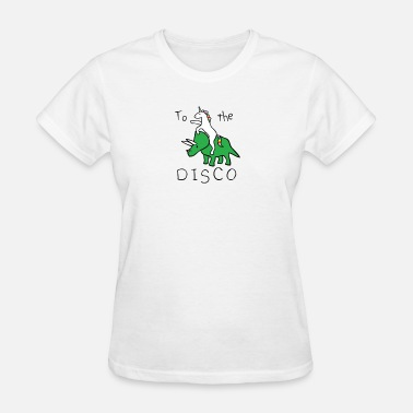 Unicorn To The Rave To The Disco (Unicorn Riding Triceratops) - Women's T-Shirt