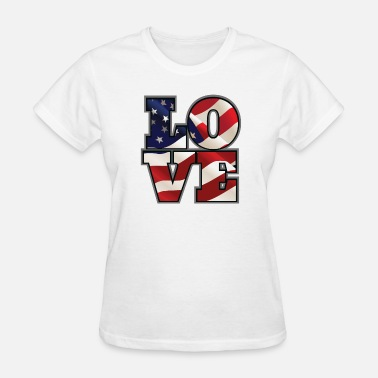 Cute Patriotic Cute Patriotic American Flag Love T-Shirt - Women's T-Shirt