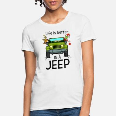 Anchor And Wheel Tattoo life is better in a jeep santa scare kill jeep - Women's T-Shirt