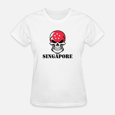 Flag Of Singapore Singaporean Flag Skull Singapore - Women's T-Shirt