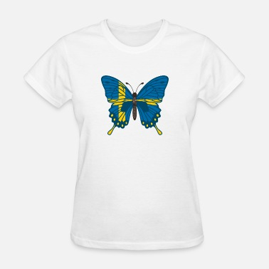 cf626ab5 Butterfly Sweden Flag of Sweden - Gift Idea Women's Jersey T-Shirt ...