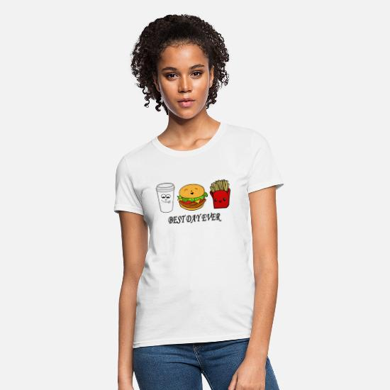Gift Idea T-Shirts - Coffee burger fries - Best day ever - Women's T-Shirt white