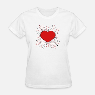 Bro Cycling heart love logo design cool circuit wire data micr - Women's T-Shirt