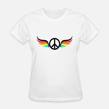 Symbol Wings Peace Symbol Rainbow Wings - Women's T-Shirt