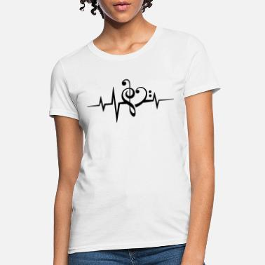 Dance Trance Note Frequency music notes clef heart pulse bass beat - Women's T-Shirt