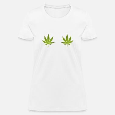 681a38a448f72 Womens Cannabis Leaf Boobs Stoner Weed T-Shirt Women's Hoodie Dress -  heather gray