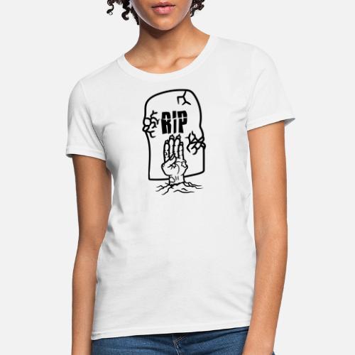 d93e2ee2d7cf zombie resurrect hand ground cemetery dead gravest Women s T-Shirt ...
