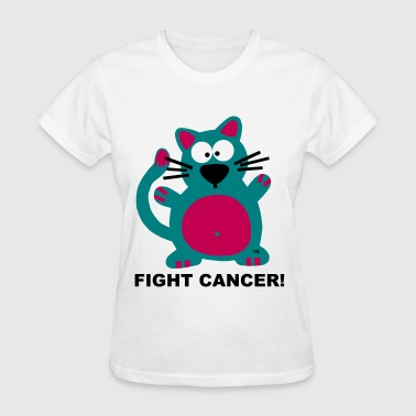 Fight Fuck Cancer Breast Comic Cat Cats Kitty  - Women's T-Shirt
