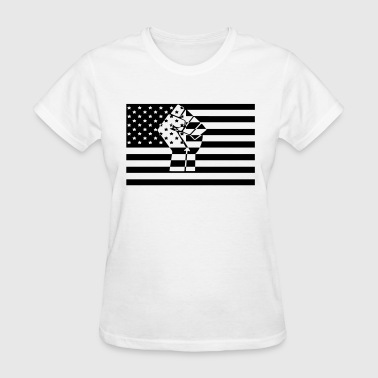 American Flag Raised Fist Black Power - Women's T-Shirt