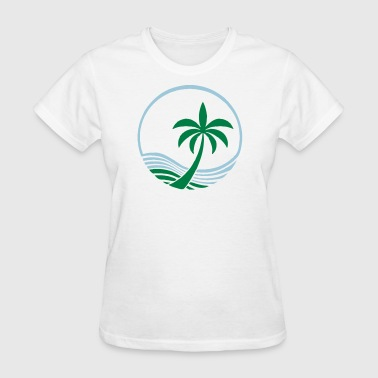 Ocean and Palm Tree - Women's T-Shirt