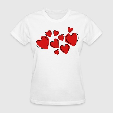 Love Hearts Floating (Drawing) - Women's T-Shirt