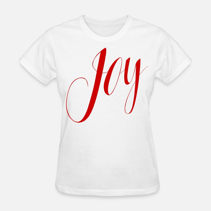 Joy T-Shirts - Joy Script Holiday Red V1 - Women's T-Shirt white