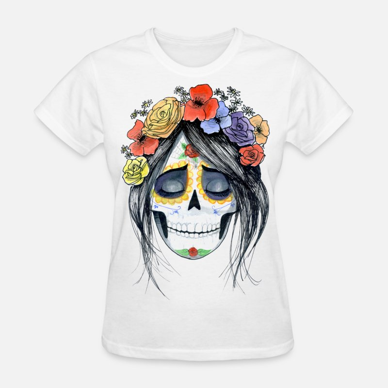 Art T-Shirts - mexican skull - Women's T-Shirt white