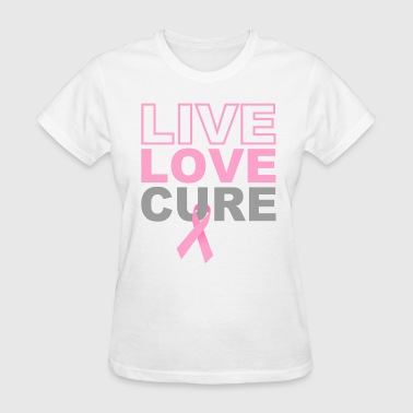 Living With Cancer Live Love Cure Breast Cancer - Women's T-Shirt