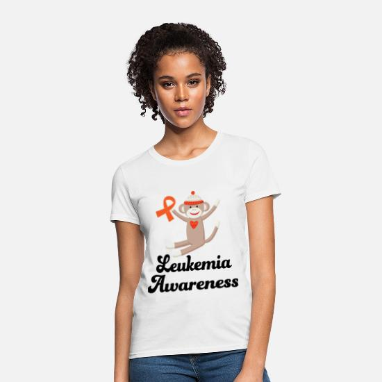 Awareness T-Shirts - Leukemia Awareness Sock Monkey - Women's T-Shirt white