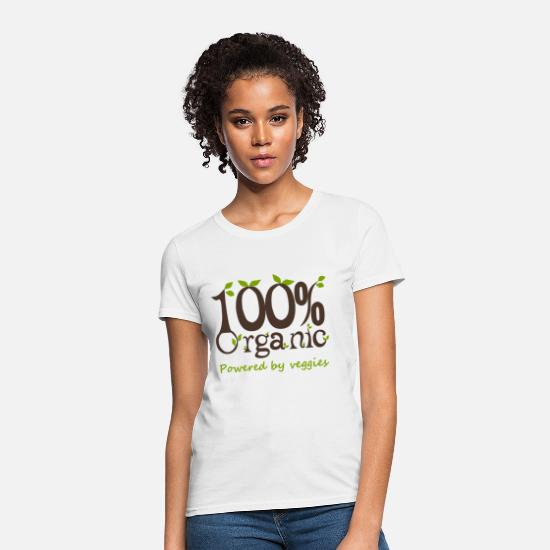 Vegan T-Shirts - 100% Organic Powered By Veggies - Women's T-Shirt white