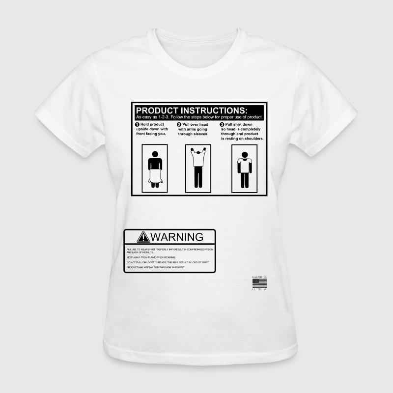 T Shirt Instructions And Warning Label Graphic Tee By Smart Apparel