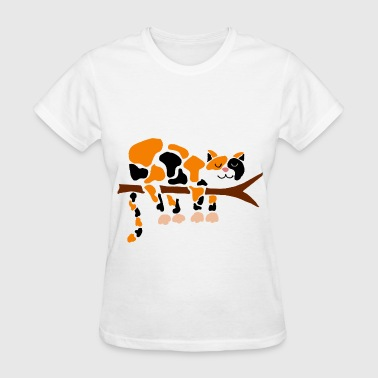 Funny Calico Cat in Tree - Women's T-Shirt