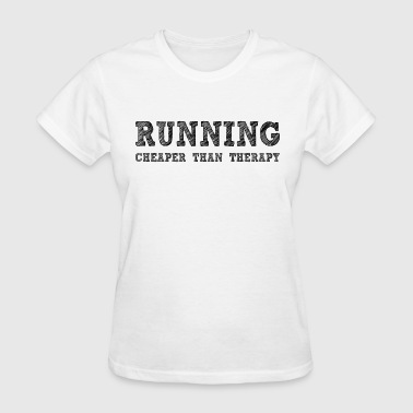 Swimming Cheaper Than Therapy Running Cheaper Than Therapy - Women's T-Shirt