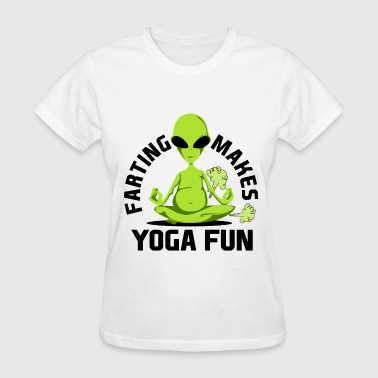 Zen Alien Funny Fart Yoga for Women & Men Breaking Wind Alien Light - Women's T-Shirt