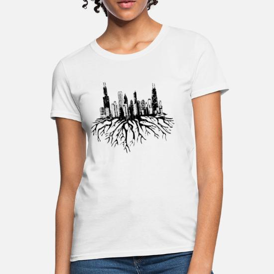 a6bcbf554d361a Chicago Skyline Silhouette Vector with Roots Tee Women's T-Shirt |  Spreadshirt