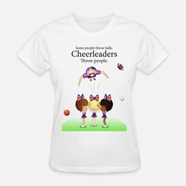 Funny Cheerleading Cheereaders throw people - Women's T-Shirt