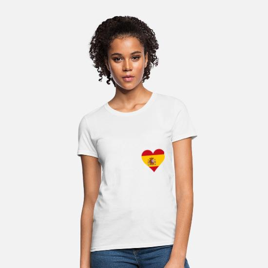 Barcelona T-Shirts - Spain Heart Flag - Women's T-Shirt white
